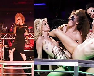 Four mischievous girls having crazy lesbian orgy