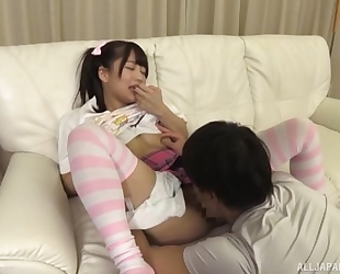 Adorable Japanese girl with pigtails gets a nice fuck