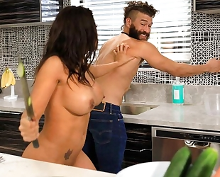 Gorgeous latina fucks handsome guy in the living room