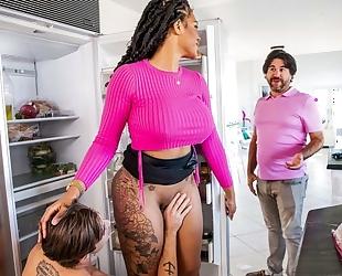 Curvaceous black MILF seduces and fucks her stepson