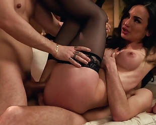 Busty Hungarian babe in stockings gets double donged by 2 hot studs