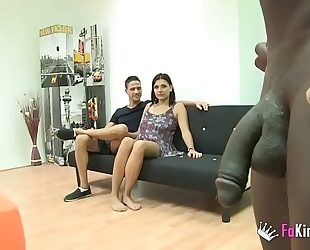 Teen craves her first interracial three-some