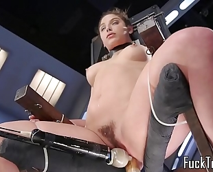 Babe restrained to chair for slit toying