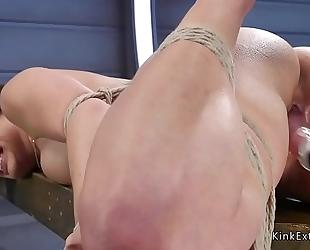 Tied up black brown receives fucking machine