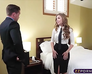 Sex hungry blonde air hostess offers her constricted wazoo
