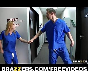 Slutty blonde nurse sneaks off at work to team fuck a hospital intern
