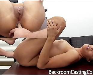 Tall model fucked right into an asshole on casting sofa
